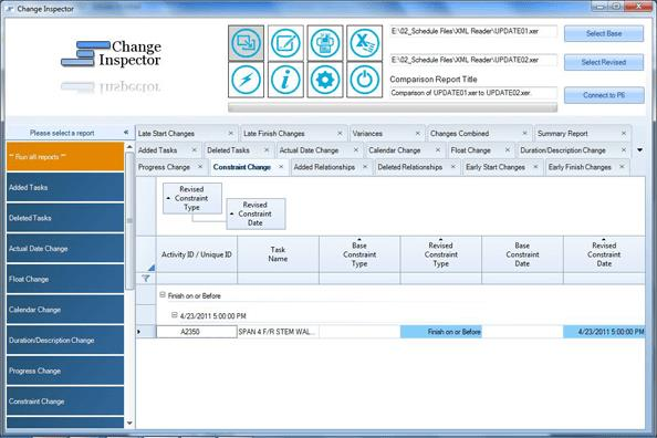 Change Inspector produces reports that enable you to locate the changes between two schedules.