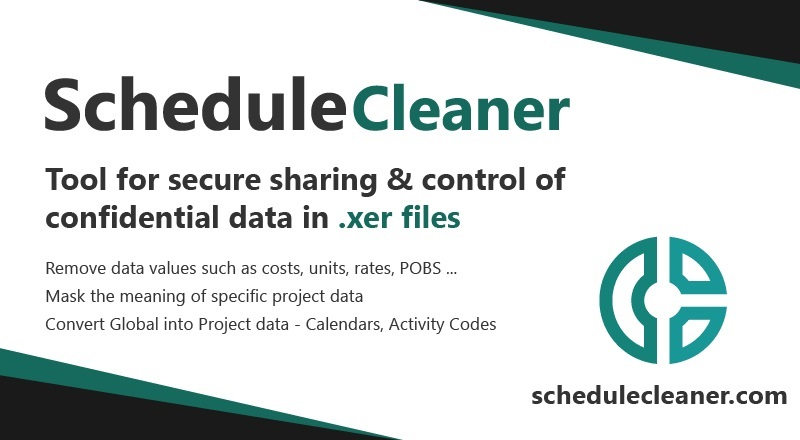 ScheduleCleaner is software solution tool, P6 schedules cleaner, XER project files cleaner and Pobs Data cleaner